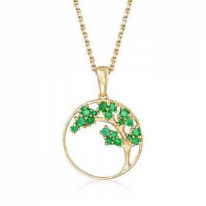 Ross-Simons .32 ct. t.w. Emerald Tree Pendant Necklace in 14kt Yellow Gold