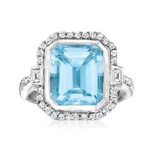 Ross-Simons 6.60ct Sky Blue Topaz, .32ct t.w. Diamond Ring, White Topaz Accents