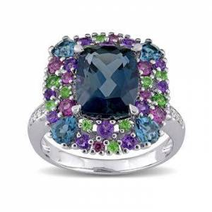 Ross-Simons 5.32ct t.w. Multi-Gemstone Ring, Diamond Accents in Silver