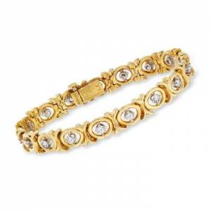 Ross-Simons C. 1970 Vintage 2.20ct t.w. Diamond X, O Bracelet in 18kt Yellow Gold