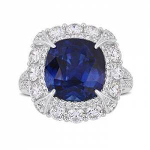 Ross-Simons 7.10ct Sapphire, 1.73ct t.w. Diamond Cocktail Ring in 14kt White Gold