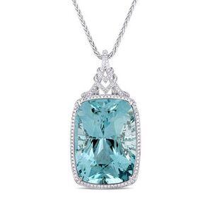Ross-Simons 140.00ct Certified Sky Blue Topaz Pendant Necklace, 3.48ct t.w. Diamonds