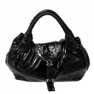 Fendi Black Patent Leather Spy Hobo