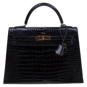 Hermes Black Crocodile Vintage Gold Hardware Kelly Sellier 32 Bag