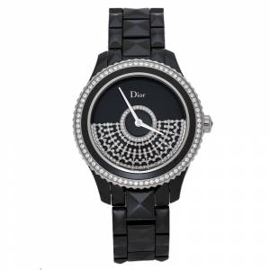 Christian Dior Black Ceramic Diamond VIII Placed Vendome Grand Bal CD124BE3 Women's Wristwatch 38 mm