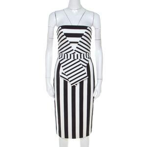 Cushnie Et Ochs Black and White Striped Neoprene Strapless Dress XS