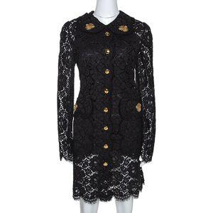 Dolce & Gabbana Dolce & Gabbana Black Floral Lace Bee Appliqued Shift Dress L