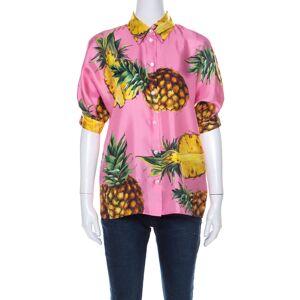 Dolce & Gabbana Pink Pineapple Print Silk Twill Boxy Shirt S