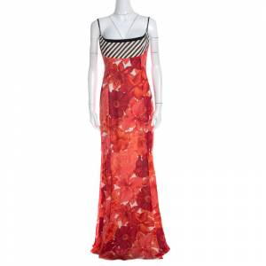 Escada Pink Floral Print Silk Corset Bodice Flared Abendkleid Maxi Dress M