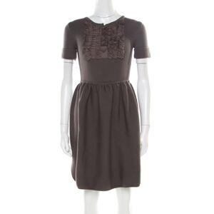 Fendi Grey Chunky Wool Ruffled Bodice Detail Short Sleeve Dress S