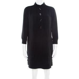 Louis Vuitton Black Crepe Knit Long Sleeve Shift Dress S