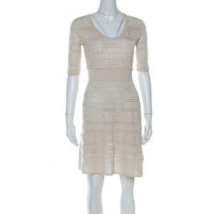 M Missoni Gold Lurex Knit Panelled Short Dress S
