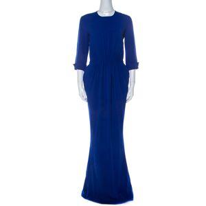 Stella McCartney Blue Stretch Cady Gathered Waist Maxi Dress M