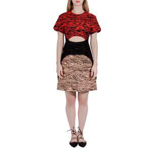 Proenza Schouler Multicolor Tiger Stripe Flocked Print Cut Out Dress S