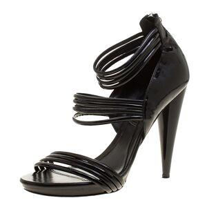 Alexander McQueen Black Leather Stripe Straps Sandals Size 38