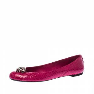 Alexander McQueen Pink Python Leather Skull City Ballet Flats Size 40