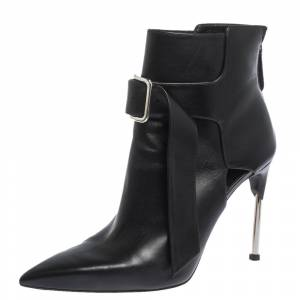 Alexander McQueen Black Leather Buckle Pointed Toe Booties Size 40