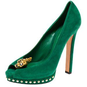 Alexander McQueen Green Suede Crystal Embellished Skull Peep Toe Platform Pumps Size 40