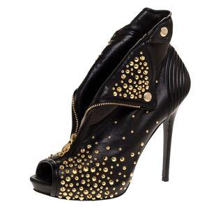 Alexander McQueen Black Leather Studded Faithful Skull Peep Toe Ankle Boots Size 41