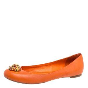 Alexander McQueen Orange Leather Skull Ballet Flats Size 38.5