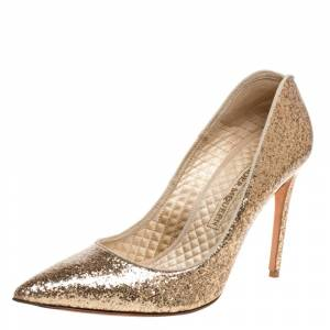 Alexander McQueen Gold Patent Glitter Leather Pointed Toe Pumps Size 39