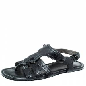 Balenciaga Black Leather Arena T-Strap Flat Sandals Size 37