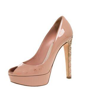 Christian Dior Beige Patent Leather Metal Cannage Heel Peep Toe Platform Pumps Size 37