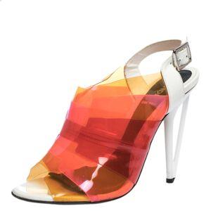 Fendi Multicolor PVC And White Patent Slingback Sandals Size 38