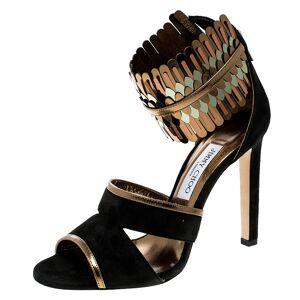 Jimmy Choo Black Suede and Metallic Mirrored Leather Klara Ankle Cuff Peep Toe Sandals Size 40