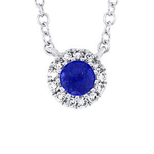 Diana M. Fine Jewelry 14K 0.18 ct. tw. Diamond & Blue Sapphire Necklace   - Size: NoSize