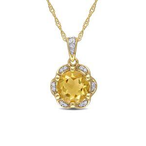 Diamond Select Cuts 14K 1.31 ct. tw. Diamond Citrine Necklace   - Size: NoSize