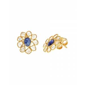 Forever Creations USA Inc. Forever Creations 18K Yellow Gold Over Silver 2.60 ct. tw. Diamond & Sapphire Earrings   - Size: NoSize