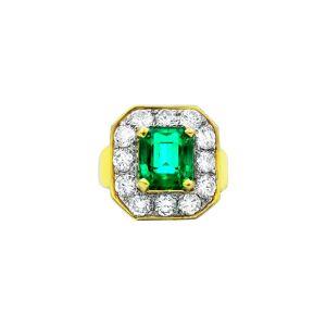 Diana M. Fine Jewelry 18K 6.10 ct. tw. Diamond & Emerald Ring   - Size: NoSize