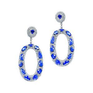 Diana M. Fine Jewelry 18K 27.32 ct. tw. Diamond & Blue Sapphire Earrings   - Size: NoSize