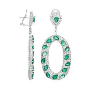 Diana M. Fine Jewelry 18K 19.00 ct. tw. Diamond & Green Emerald Drop Earrings   - Size: NoSize