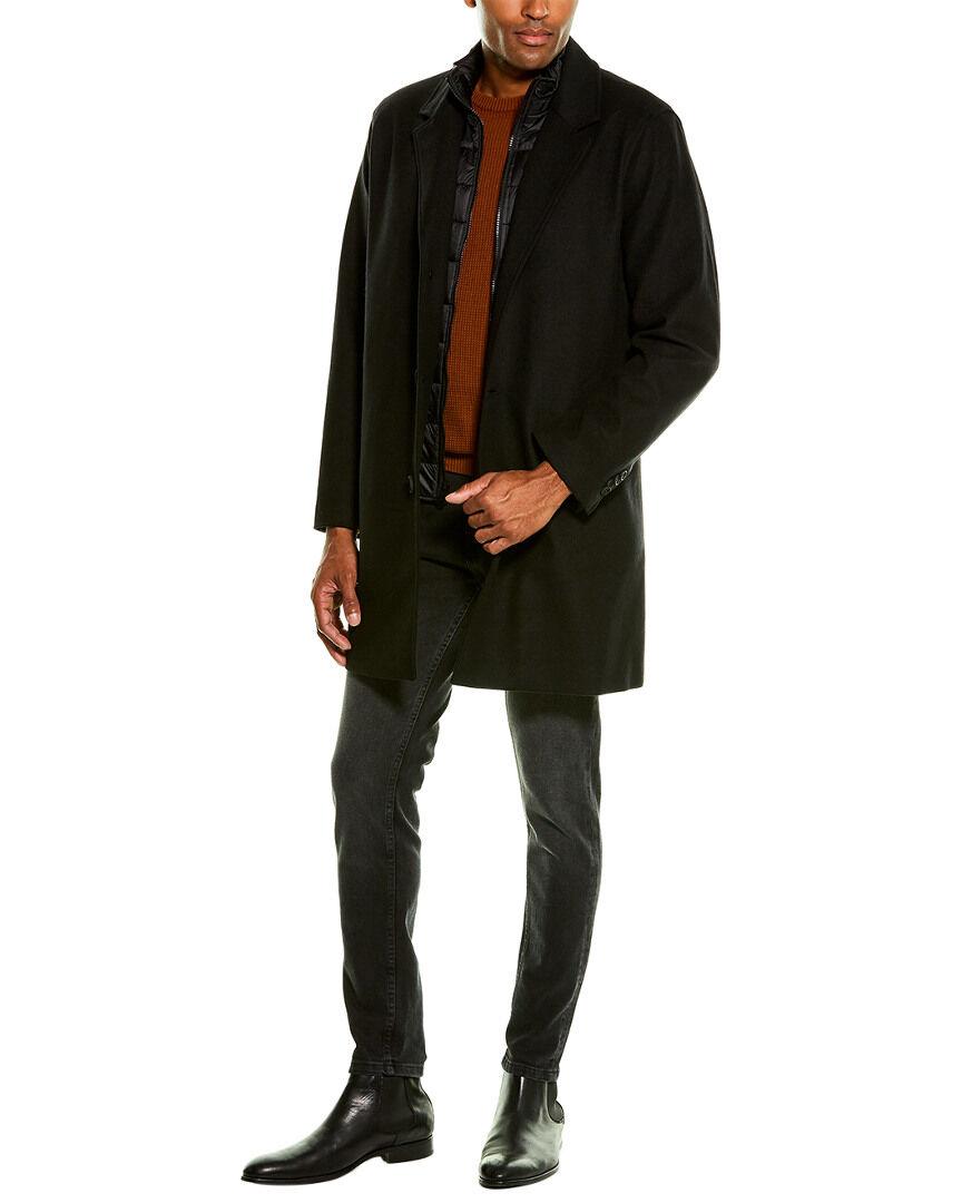 Cole Haan Laminated Wool-Blend Coat  -Black - Size: Medium