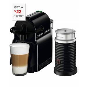DeLonghi Nespresso Inissia Single-Serve Espresso Machine and Aeroccino Milk Frother in Black   - Size: NoSize