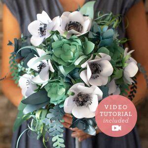 1 Paper Anemone and Succulent Bridal Bouquet Bundle