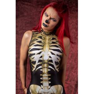 BADINKA Sexy Skeleton Bodysuit Sleeveless - Halloween Sexy Skeleton Catsuit - Halloween Skeleton Costumes - black - Size: Extra Large