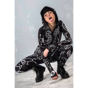 BADINKA Festival Outfit for Women - Burning Man Clothing Women - Rave Bodysuit - black - Size: Extra Large