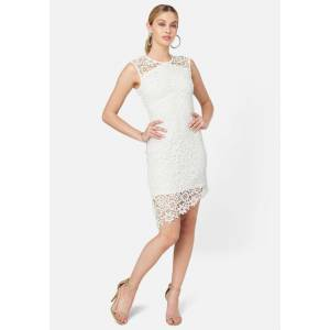 Bebe Women's Lace Angled Hem Dress, Size 12 in White