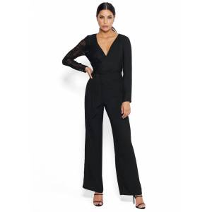 Bebe Women's Mixed Wrap Jumpsuit, Size 12 in Black Polyester/Nylon