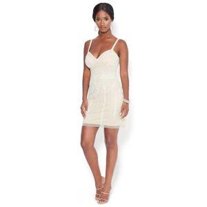 Bebe Women's Allover Beaded Mini Dress, Size 00 in Nude