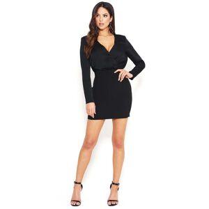 Bebe Women's Surplice Dress, Size 12 in Black Polyester