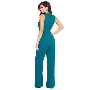 Bebe Women's Wide Leg Belted Jumpsuit, Size 12 in Moroccan Blue