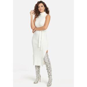 Bebe Women's Cable Midi Sweater Dress, Size XL in Egret Nylon