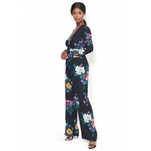Bebe Women's Print Tie Waist Jumpsuit, Size 12 in Floral Polyester