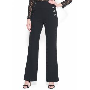Bebe Women's High Waist Wide Leg Button Pant, Size 12 in BLACK Polyester