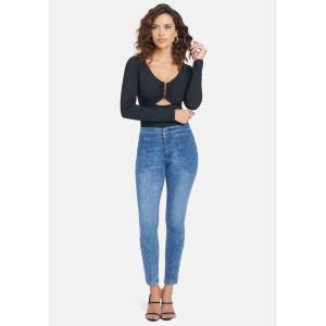 Bebe Women's Quilted Stitch Skinny Jeans, Size 28 in Medium Blue Wash Cotton/Spandex