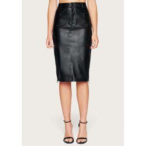 Bebe Women's Faux Leather Midi Skirt, Size 2 in Black Polyurethane